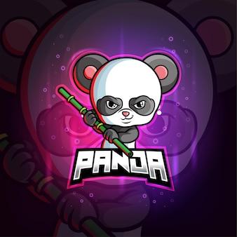 Panda met stok mascotte esport kleurrijk logo