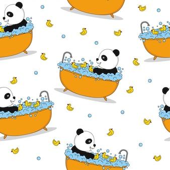 Panda naadloos patroon vectorontwerp als achtergrond