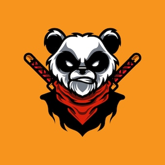 Panda ninja e sport mascotte-logo