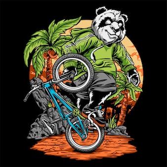 Panda rijdt een fiets hand tekening vector