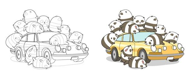 Panda's met auto cartoon kleurplaat