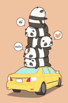 Panda's op de gele auto in cartoon stijl.
