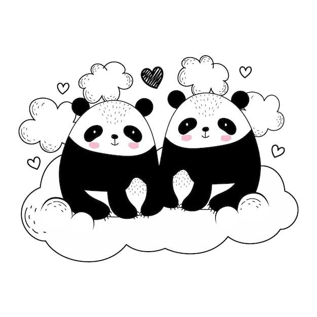 Panda's zittend op wolk schets