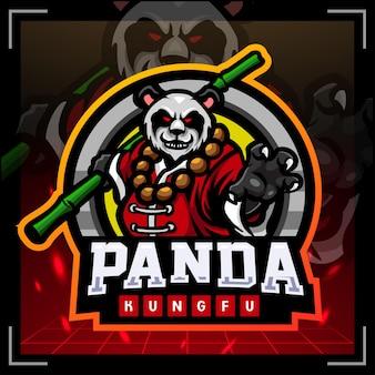 Panda samurai mascotte esport logo ontwerp