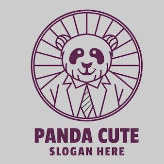 Panda schattig lijntekeningen logo