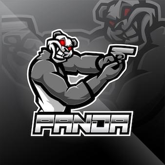 Panda schutter esport mascotte logo ontwerp