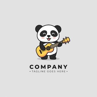 Panda speelt gitar-logo