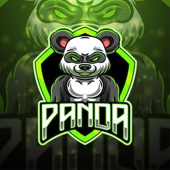Panda sport mascotte logo ontwerp