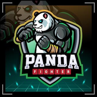 Panda vechter mascotte esport logo ontwerp