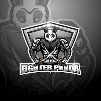 Panda vechter mascotte logo