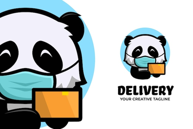 Panda wear mask delivery courier mascot logo