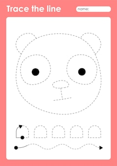 Panda - werkblad voor kleuters met traceerlijnen voor het oefenen van fijne motoriek
