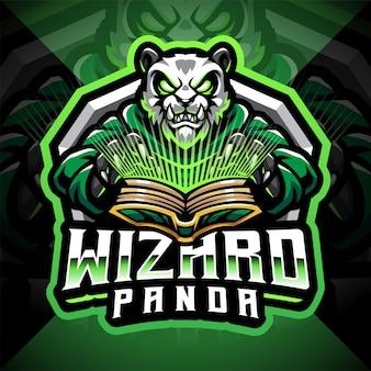 Panda wizard esport mascotte logo