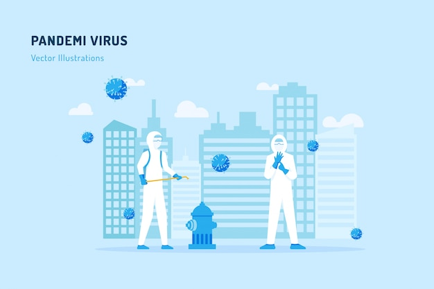Pandemi virus illustratie