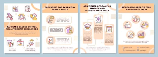 Pandemie veroorzaakte brochuresjabloon voor schoolmaaltijdprogramma's