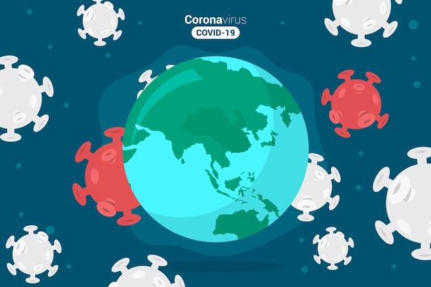 Pandemische coronavirusbacteriën en aarde