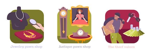 Pandjeshuis platte composities met antieke klokken kunstwerk schilderij pion sieraden winkel pandjesbaas dief