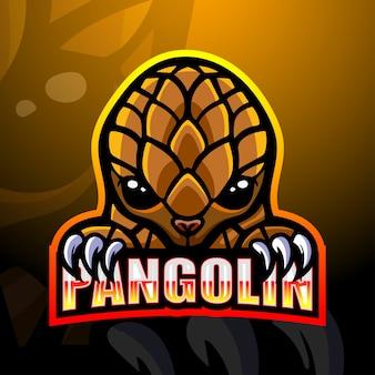 Pangolin mascotte esport illustratie