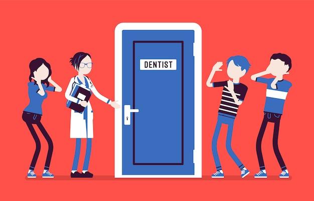 Paniek bij de tandartsdeur. groep jongeren die bang zijn voor tandheelkunde en tandheelkundige zorg, bezoek aan dokter is angstaanjagend. geneeskunde en gezondheidszorg concept. illustratie, anonieme karakters
