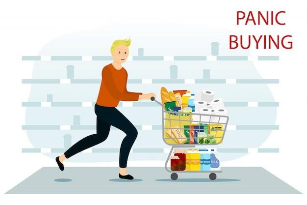 Paniek in de winkel. gebrek aan producten. man met een volledige winkelwagen van producten.