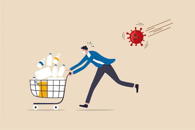 Paniekaankoop bij covid-19 coronavirus-uitbraakcrisis, mensen hamsteren op uitgaansverbod en lockdown-concept, paniekman rent in angst met vol goederen, medicijnen, tissues in winkelwagen met viruspathogeen.