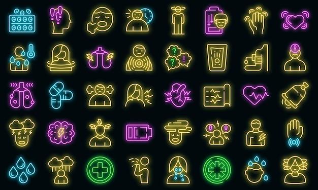 Paniekaanval pictogrammen instellen vector neon