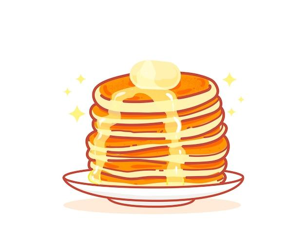 Pannenkoek honing zoet voedsel dessert ontbijt hand getekende cartoon kunst illustratie