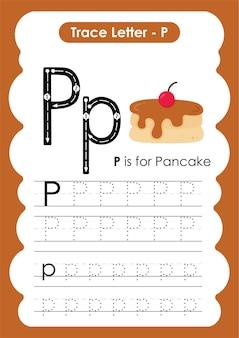 Pannenkoek traceer lijnen schrijven en tekenen oefenwerkblad voor kinderen
