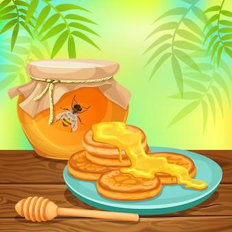 Pannenkoeken en honing.