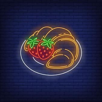 Pannenkoeken met aardbeien neon bord.