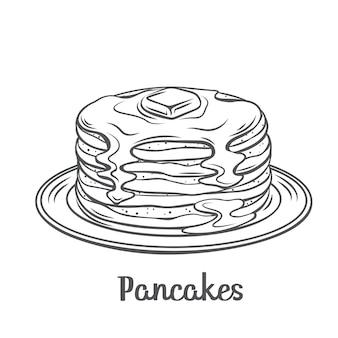 Pannenkoeken met ahornsiroop schets illustratie. getekende bakselpannenkoeken met boter op plaat. ontbijt concept.
