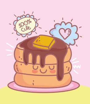 Pannenkoeken met boter en siroop restaurant cartoon eten schattig