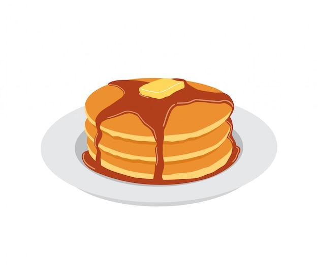 Pannenkoeken met boter en zoete ahornsiroop