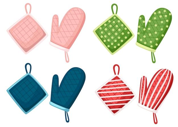 Pannenlap en ovenwant in verschillende kleur en textuur. beschermende weefseldoek met vierkant-, lijn- en stippenpatroon. illustratie op witte achtergrond.