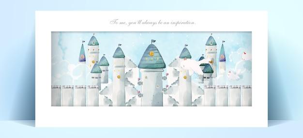 Panorama aquarel kasteel in romantische illustratie pastelkleur.