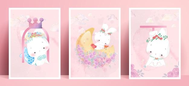 Panorama aquarel levensstijl dagelijks leven konijnen in menselijke gebaren romantische illustratie in pastelkleur.