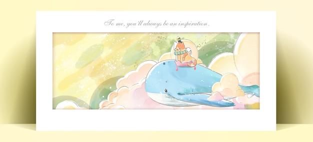 Panorama aquarel levensstijl dagelijks leven walvis in menselijke gebaren romantische illustratie in pastelkleur.