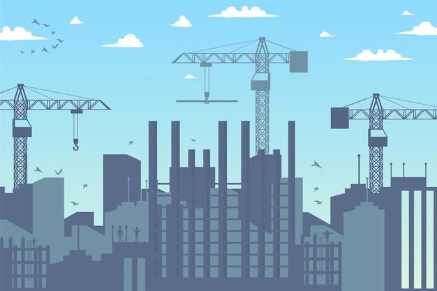 Panorama bouw een nieuw district de stad