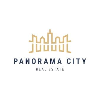 Panorama city landschapslogo met wolkenkrabbers. architectuur gebouwen schetsen illustratie. onroerend goed appartement logo