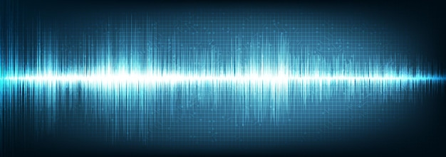 Panorama digital sound wave op blauwe achtergrond, technology wave concept