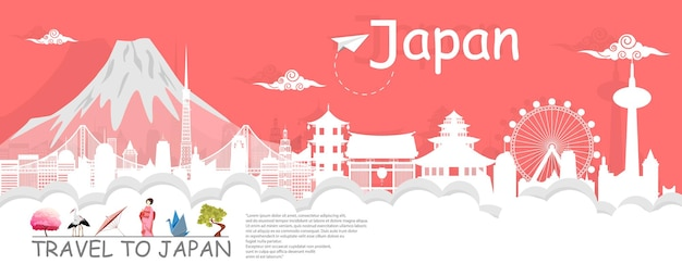Panorama reizen ansichtkaart, tour reclame wereldberoemde bezienswaardigheden van japan, papier knippen stijl - vectorillustratie.