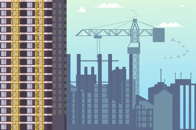 Panorama van bouw nieuwe districtsstad