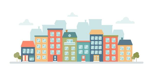 Panorama van de stad met veelkleurige gebouwen met meerdere verdiepingen op een witte achtergrond in een vlakke stijl