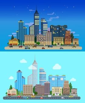Panorama van de stad wolkenkrabbers de lucht op de achtergrond dag nacht