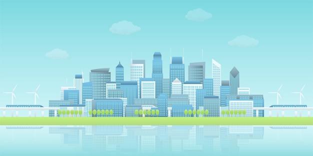 Panorama van de waterkant slimme stad met hemeltreinen en windturbines