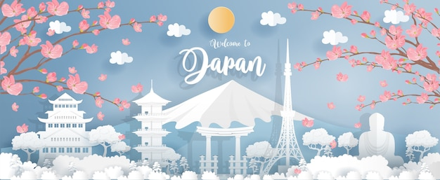Panorama van de wereldberoemde bezienswaardigheden van japan