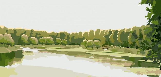 Panorama van een vijver in een park van het land, een bos.