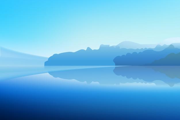 Panorama van winter dawn op een bergmeer met een besneeuwde bos en een spiegel reflectie in het water. realistische vectorillustratie.
