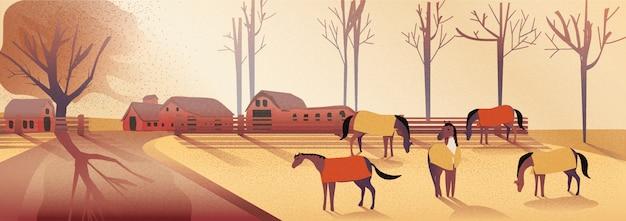 Panorama vectorillustratie van plattelandslandschap in de herfst. paardenboerderij in watervallen. gele gebladerteberg of heuvel met paarden in de mist met licht en schaduwbeeld met lawaai en korrel.