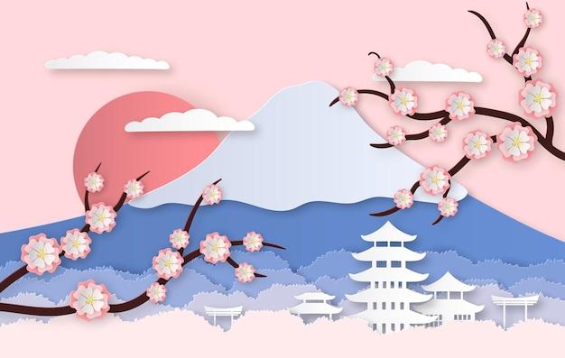 Panoramalandschap met japanse bomen